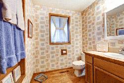 Blue brown bathroom